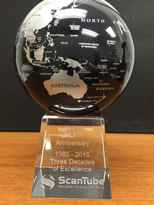 Engraved Globe for ScanTube by Unlimited Signs