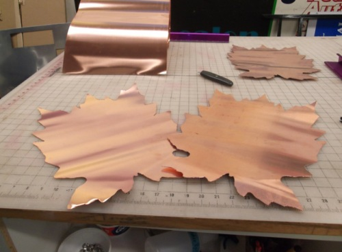 Copper cutouts using our sign router