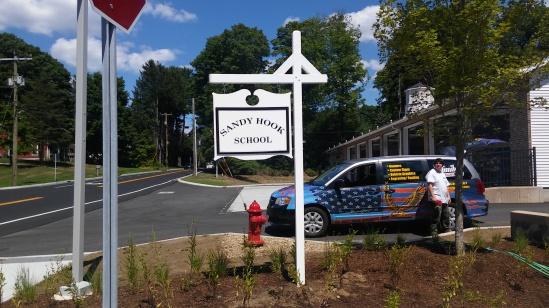 Post and Panel Sign for Sandy Hook Elementary in Newtown CT