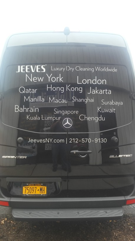 van graphics and lettering for dry cleaning companies