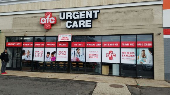 window graphics for urgent care centers in Bridgeport CT